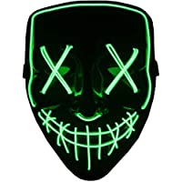 Aokshen Halloween Mask LED Light Up Scary Mask for Festival Cosplay Halloween Masquerade Costume Parties Black For Adult And Kids (Green)