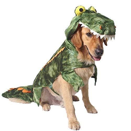 Adusa Alligator-Kostüm für Hunde, Halloween, Weihnachten, Krokodil, Partykleid, Kapuzenjacke, Haustier Jumpsuits, XXL