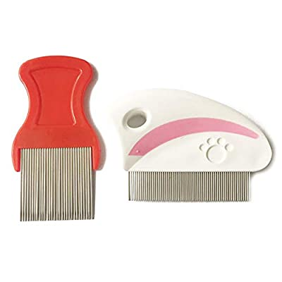 Naisidier Pet Flea Comb Closely Spaced Metal Pins Removes Fleas Brush Pet Grooming Brush for Pet Dogs Cats (Short Teeth) Pet Supplies from Naisidier
