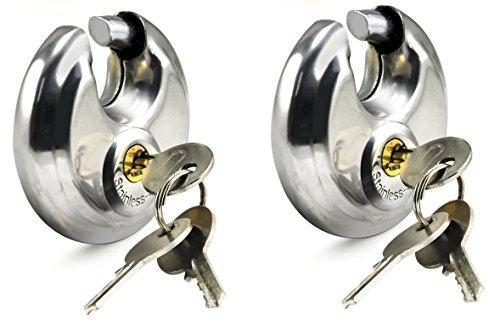2x Scheiben-Vorhängeschlösser, 60mm runde Vorhängeschlösser, Bügel aus gehärtetem Stahl, eingeschlossen in einem Stahl-Körper, ideal für Innenanwendung und Universal-Anwendung mit minimaler und mittlerer Sicherheit. (Outdoor-eintrag Möbel)