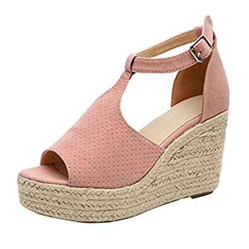 Boho Wedge Sandalen Damen Casual Flache Sommerschuhe Peep Toe Sandaletten Strandschuhe mit Schnalle Pink Schwarz Grau Braun Leopard 35-43 Pink 39