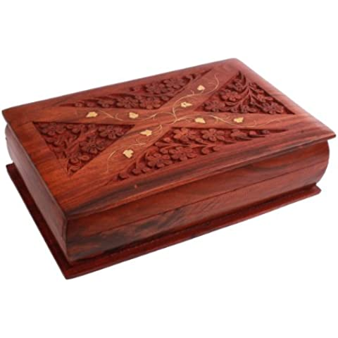 Regalos de Navidad, Caja de madera decorativa / joyeria titular del baratija organizador / caja de recuerdo / almacenamiento de pecho hecho a mano con tallas florales y incrustaciones de