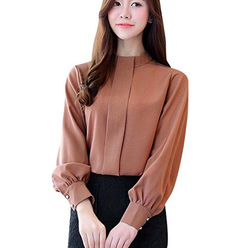 BHYDRY Frauen Kurze Büro Arbeitskleidung Stehen Hals Chiffon Shirts Langarm Casual Tops (S,Beige)
