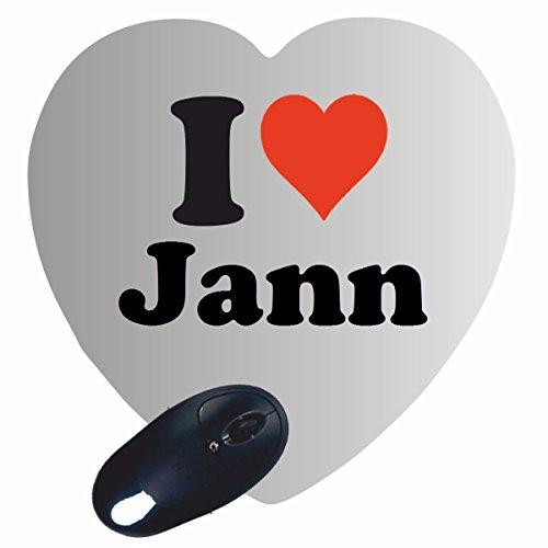 """Exklusive Geschenkidee: Herz Mauspad """"I Love Jann"""" eine tolle Geschenkidee die von Herzen kommt- Rutschfestes Mousepad- Weihnachts Geschenktipp"""