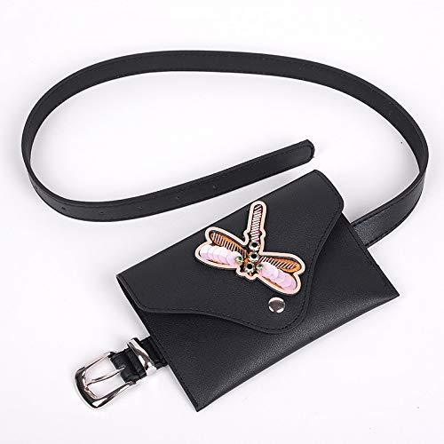 Unbekannt Women's Pockets hip Bag Leg Bag Shoulder Strap Bag Belt Bag European and American Fashion Ladies Pocket pin Buckle PU Leather Belt, 蜻蜓 -