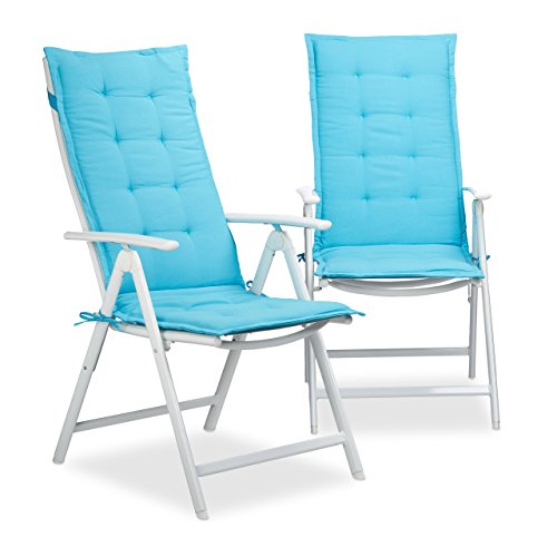 Relaxdays Coussin pour Fauteuil de Jardin Lot de 2 Matelas de Chaise terrasse Balcon HxlxP: 120 x 47 x 2,5 cm, Bleu