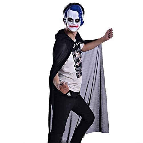 FLYA Halloween Death Cape Umhang Adult Velvet Hooded Cloak Vampire Masquerade Mit Kapuze Robe,135CM-Black
