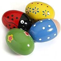 ULTNICE Huevo de madera de 4pcs Maracas Shakers juguete de percusión musical para niños (Color aleatorio)