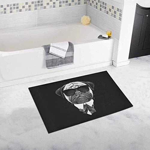 Lustiger Mops in Anzug mit Sonnenbrille Hipster Tier rutschfeste Bad Teppich saugfähige Duschmatte Badematten für Badezimmer Badewanne Home Decor