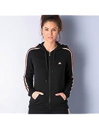 adidas Adidas Womens Hooded Top Essential 3 Stripe Hoodie Ladies Track Top Full Zip Hooded Sweatshirt Black - Sudadera con capucha para mujer, color negro, talla XS