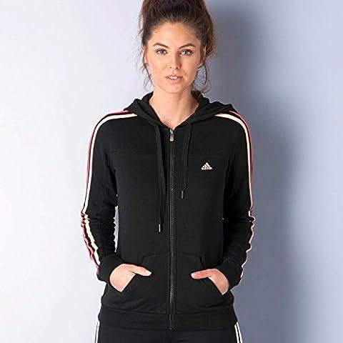 Adidas Essentials Veste de survêtement, Climalite, coton, avec fermeture éclair, capuche, 3bandes XS schwarz - Black - Haze Coral