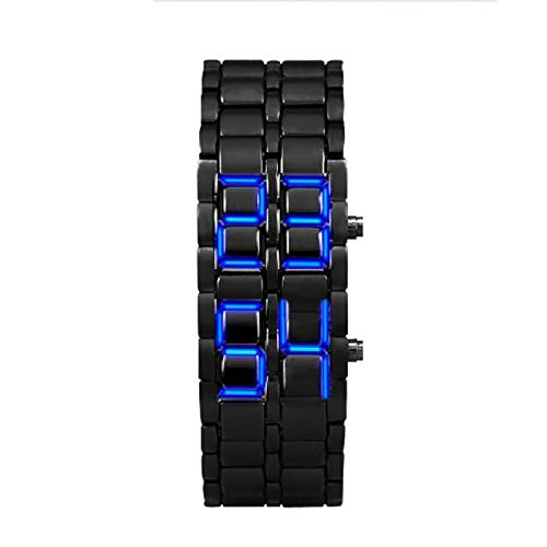 gaddrt LED Uhr Sportuhr, Lava Style Iron Samurai Black Armband LED Japanisch inspirierte Uhr BLAU