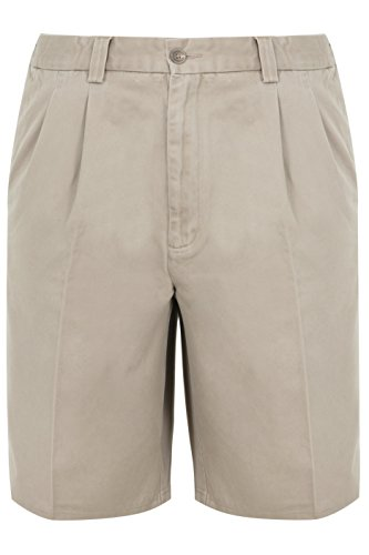 Yours YoursClothing Mens Stone Chino Shorts with Elasticated Waist Insert