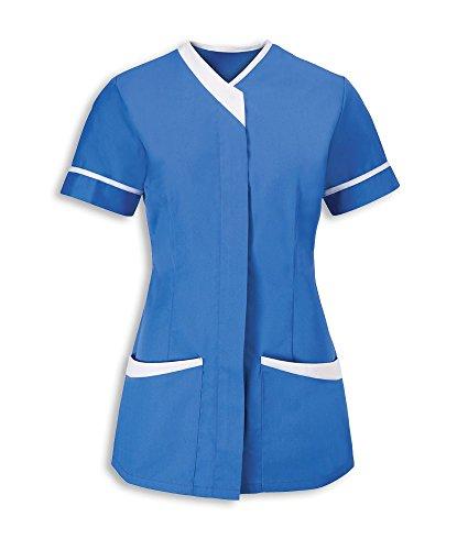 Damen-kontrast-piping (Alexandra al-nf54hb-08Damen Kontrast Trim Tunika, blanko, weiß Piping/Trim, Größe 8, Krankenhaus Blau)