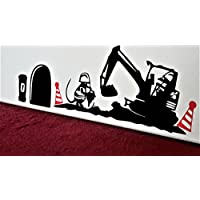 "Mouse Hole "" Work Men and Digger with Red Cones "" Skirting Board Wall Art Sticker Vinyl Decal "" 20cm x 7cm..UKSELLINGSUPPLIERS®"