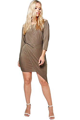 Khaki Damen Jordyn Asymetric weg von der Schulter-Kleid Khaki