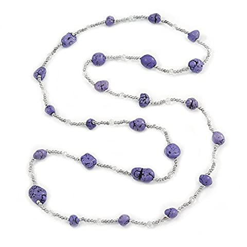 Long Purple Stone and Silver Tone Acrylic Bead Necklace -