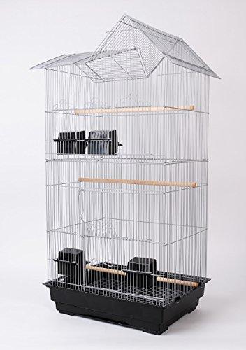 Vogelkäfig Vogelhaus Wellensittichkäfig Kanarien Käfig Exotenkäfig Papageienkäfig Nymphensittichkäfig Voliere XL 94 cm Farbe Grau Silber incl Zubehör