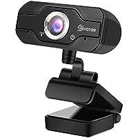 EIVOTOR Webcam PC, Telecamera PC 720p Full HD con Microfono Stereo, USB Web Cam per Facetime/Video Chat/Registrazione, Compatibile con Windows/Mac/Android, Nero
