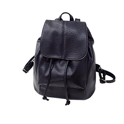XinMaoYuan Femme en cuir sac à dos Sac à bandoulière en cuir mode Sac de voyage Section verticale de couleur pure épaule Sac étudiant,Black A1