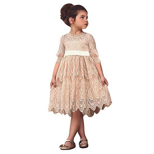 IZHH Kinder Kleider, Kleinkind Kinder Schöne Baby Mädchen Spitze Blume Prinzessin Tüll Party Pageant Kleider Kleidung 2T-6T Kinder Ärmel Kleid Spitze Geburtstagskleider(Beige,140)