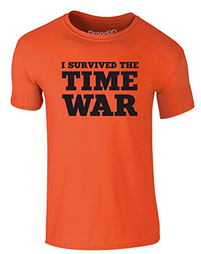Brand88 - I Survived the Time War, Erwachsene Gedrucktes T-Shirt Orange/Schwarz