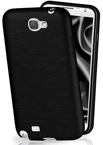 MoEx® Cover in Silicone Compatibile con Samsung Galaxy Note 2 | Effetto Alluminio Spazzolato, Antracite