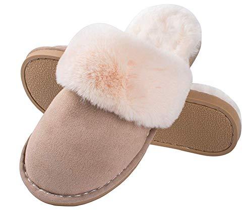 Lastia Damen Hausschuhe Winter Warm Faux Pelz Slipper Weiche Flache Plüsch Pantoffel Rutschfeste Outdoor/Indoor- 38.5/40 EU, Etikettgröße: 280 (42-43), Hellbraun 6
