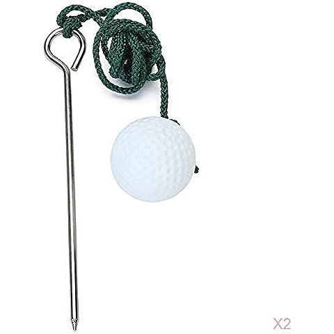 2x La Pallina Da Golf Di Formazione Aiuto Pratica Corda Migliorare Scatti
