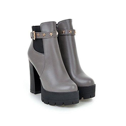 VogueZone009 Donna Bassa Altezza Tacco Alto Chiodato Luccichio Stivali con Metallo Grigio