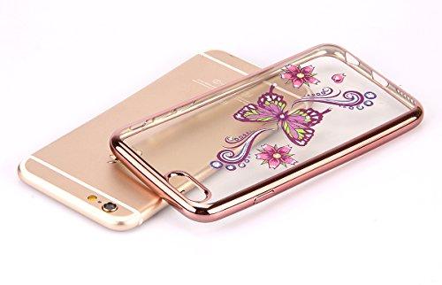iPhone 6/6S plus 5.5 Custodia,Ukayfe Premium Transparent Dipinto Chiaro Case Cover Bumper Copertina Morbido in Silicone Gel e TPU pelle,Trasparente Ultrasottile 3D Fashion Fiore Paesaggio Case Vernici rosa farfalla 6#