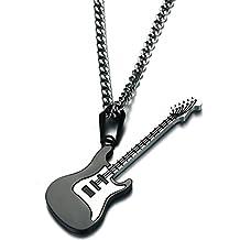 LINDANIG Hombres Mujeres Guitarra Amantes de la música Colgante de joyería Collar de Cadena de Collar