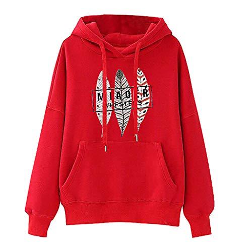 Toasye Einfarbiges, langärmliges Sweatshirt mit Kapuze und Tunnelzug Süßer Pullover mit Print kaputzenpullis Damen Sweatshirts Jersey Crewneck Blazer (Crewneck Jersey T-shirt Damen)
