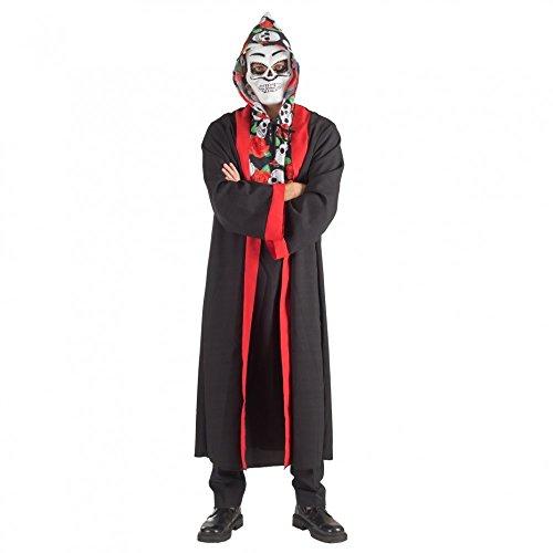 Krause & Sohn Totenkopf Tunika mit Mantel L/XL Halloween Tag der Toten La Catrina ()