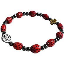 Bracelet fait de coccinelles - Porte bonheur - Comporte croix et Vierge