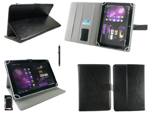 Emartbuy® Denver TAQ-10153 10.1 Zoll Tablet Universalbereich Schwarz Multi Winkel Folio Executive Case Cover Wallet Hülle Schutzhülle mit Kartensteckplätze + Schwarz Eingabestift
