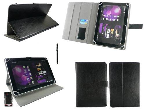 Emartbuy® Denver TAQ-10133 10.1 Zoll Tablet Universalbereich Schwarz Multi Winkel Folio Executive Case Cover Wallet Hülle Schutzhülle mit Kartensteckplätze + Schwarz Eingabestift
