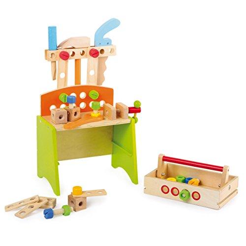 Werkbank Deluxe aus stabilem Holz, mit allerlei Zubehör und Werkzeug sowie einem Schraubstock, schult die Feinmotorik und fördert die Kreativität, Arbeitshöhe ca. 18 cm, für kleine Handwerker ab 3 Jahren