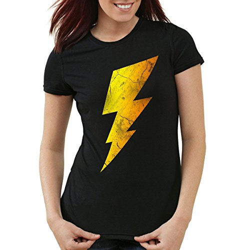 Lightning Bolt Damen T-Shirt, Farbe:Schwarz;Größe:L (The Big Bang Theory Superhelden Kostüme)