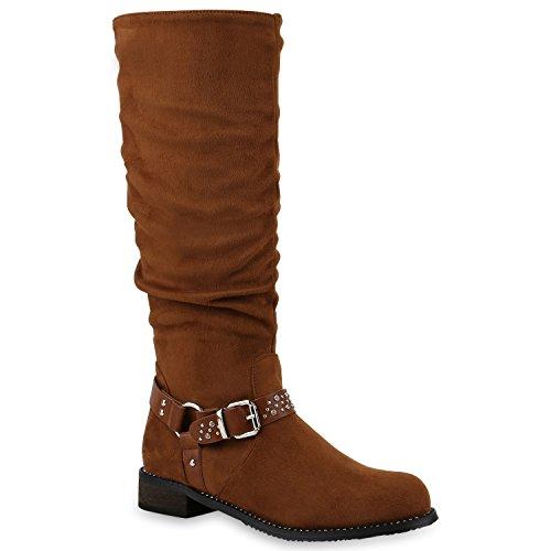 Stiefelparadies Damen Schuhe Stiefel Leicht Gefütterte Bikerstiefel Nieten Strass Boots 145486 Hellbraun Nieten 39 Flandell