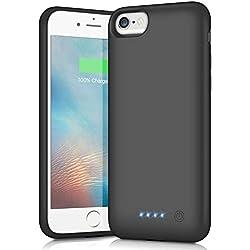 iPosible Coque Batterie pour iPhone 6/8/6S/7, 6000mAh Chargeur Portable Batterie Externe Rechargeable Puissante Power Bank Coque pour Apple iPhone 6/8/6S/7[4.7 Pouces]-Noir