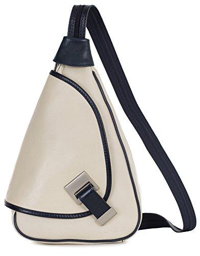 LiaTalia kleine italienische Echtledertasche Schnalle Detail Leder Rucksack mit Schutz-Staubbeutel - Mila Creme - Blaue Verzierung (Leder Detail, Schnalle)