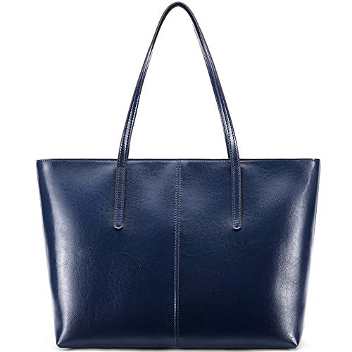 Ritzo by M ~ Ledertasche Damen groß Tasche Damen Shopper aus echtem Vintage Leder in Schwarz Cognac Braun und Blau (Blau)