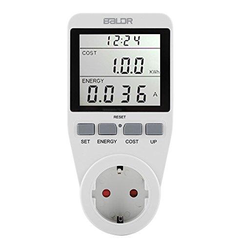 Aramox WLAN Steckdose Elektrizitäts Monitor, digitales Energie Meter LCD Anzeigen Energie Volt Watt Meter EU Stecker Strom Verbrauch Monitor Ausrüstung(EU Plug)