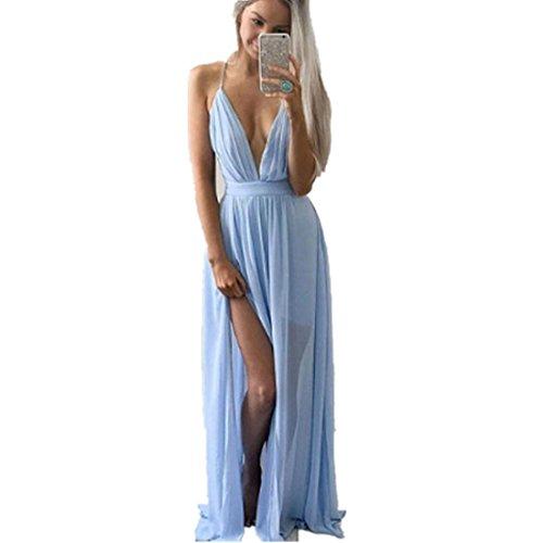 kleid damen Kolylong® Frauen V-Ausschnitt elegantes ärmelloses langes Partykleid Abendkleid Sommer lose Strandkleid Bodycon Böhmisches kleid (S, Blau) (Trompete Bodenlangen Kleid)