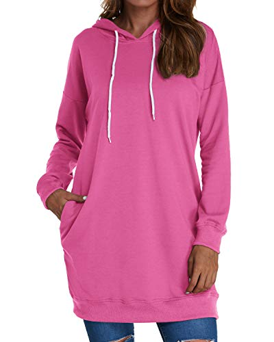 Kenoce Damen Lang Hoodie mit Kapuze Langarm Kapuzenpullover Sweatshirt PulloverKleid Pulli Kleid Lose Oberteile Tops Mit Taschen A-Pink M=EU 38/40