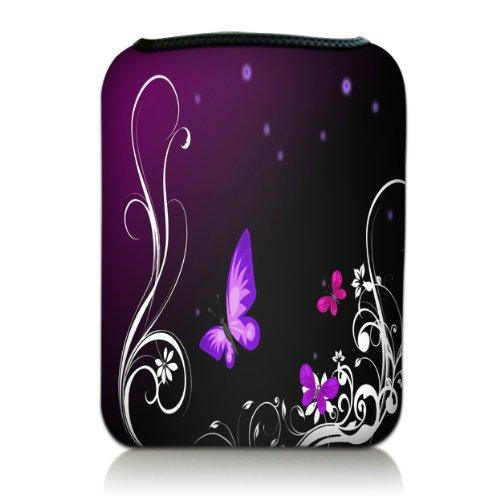 wortek Universal eBook & Tablet Designer Tasche aus Neopren in 7 Zoll - Schmetterlinge Ranke Schwarz Lila