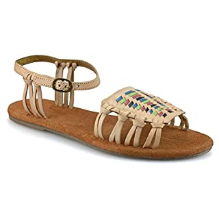 American Eagle Outfitters Ladies Womens Flat Heel Leather Ankle Strap Summer Gladiator Sandals Shoes Size[UK 7,Tan]