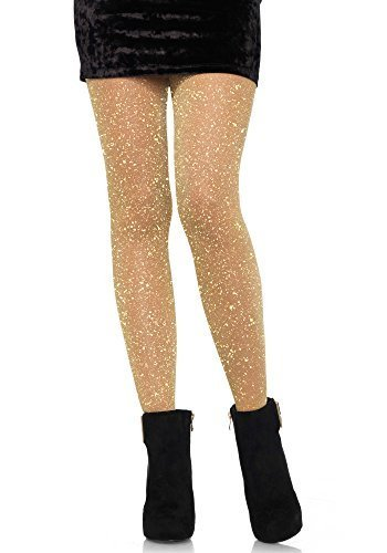 Sexy Damen Gold Glitzer Lurex durchsichtige Strumpfhose Weihnachtsparty schickes Kostüm Glitzer Fee Strumpfband Strümpfe Tänzer - Gold, One size fits most