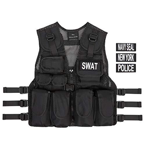 Kinder Agenten Kostüm - Kostüm Polizei SWAT Police Navy Seals Abzeichen Officer Agent Militär Armee Weste für Kinder Jungen Frauen Verkleidung Taktische Weste Qualitätsprodukt